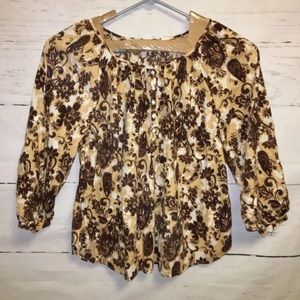 Lane Bryant Brown and Tan Print Peasant Blouse